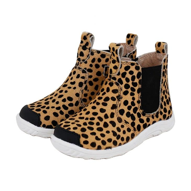 SKEANIE Leather Denver Boots in Leopard -