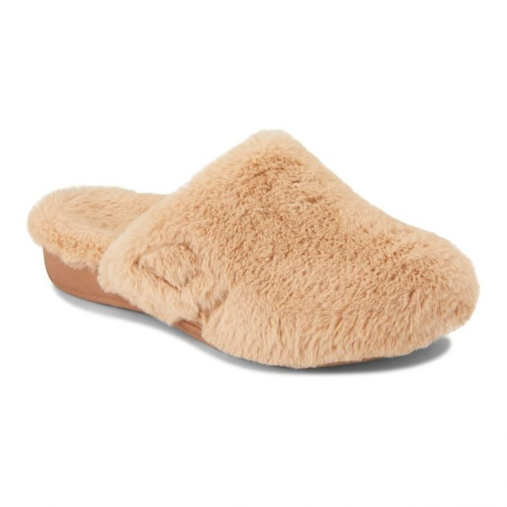 VIONIC Gemma Plush Slipper Tan -